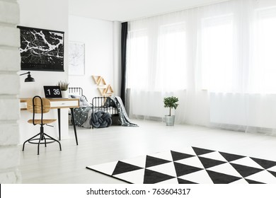 Geometric carpet in bright spacious room with wooden chair at desk in workspace and plant