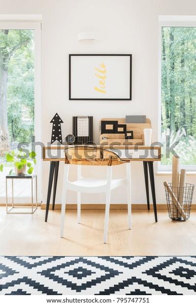 Geometric Carpet Simple Workspace Designer Chair Stock Photo Edit Now 795747751