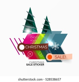 Geometric Christmas Sale Stickers - shiny paper style elements with holiday concepts - Snowflake and New Year Tree