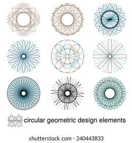Geometric circular design elements, JPEG version