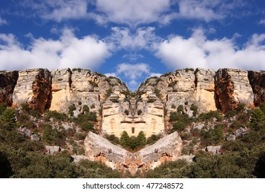 geometric composition of abstract landscapes of Karst formations in the Beteta, Cuenca, Spain, abstract surreal photography,Karstic formations are limestones