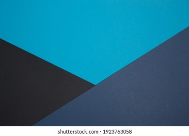 Geometric composition. Black, blue paper. Crossing flowers. Classic colors. Business style.