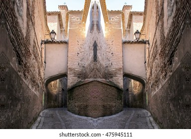 geometric composition of buildings, streets of Toledo, geometric composition of the kaleidoscopic picture of streets of old city, creative photographs of Toledo, Toledo Religious buildings