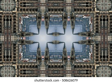 geometric composition of Cathedral of Toledo, Spain,  kaleidoscopic picture, creative photographs of Toledo,  Religious buildings surreal photography,