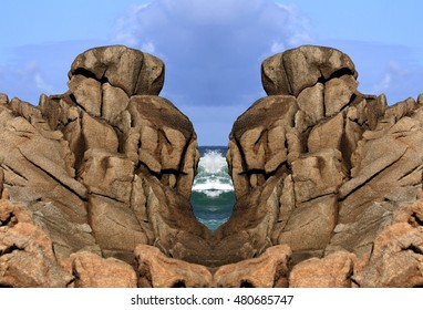 geometric composition of cliffs os Doninos beach, geometric abstract and surreal landscape of the coast of Galicia, abstract surreal photography North, Cedeira, La Coruna, Spain,