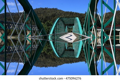 geometric composition of iron bridge, bridge over the River Sor, artistic composition, abstract surrealism, O Vicedo, Lugo, Galicia, Spain,