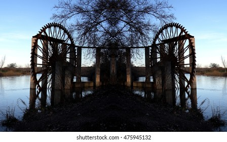 geometric composition of iron waterwheel in the river Tajo, Toledo, Spain, Abstract surrealism,