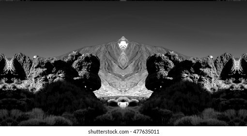 geometric composition of Las Canadas del Teide, Los Roques of García,Teide volcano,are located in an elevated position overlooking the Plain of Ucanca,surprising diversity, black and white photo,