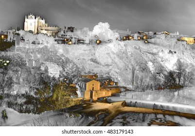 geometric composition of nocturnal landscapes of Toledo in San Martin bridge, surrealistic composition , and the mystery of a world of dreams and darkness, Christmas, snow fall, snow,