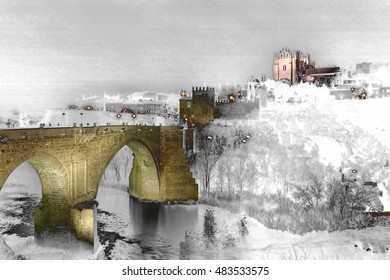 geometric composition of nocturnal landscapes of Toledo in San Martin bridge, surrealistic composition t, and the mystery of a world of dreams and darkness, Christmas, snow fall, snow,