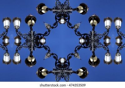 geometric composition of streetlights, abstract photography, , abstract surrealism, abstract geometry,