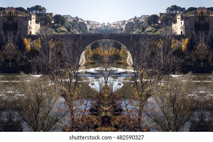 geometric composition of View of the medieval bridge of San Martín on the Tagus River as it passes through Toledo, Spain,