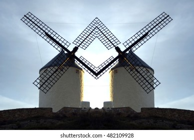 geometric composition of windmills, places to grind grain that Don Quixote mistook for giants in the novel of the same name written by Cervantes,