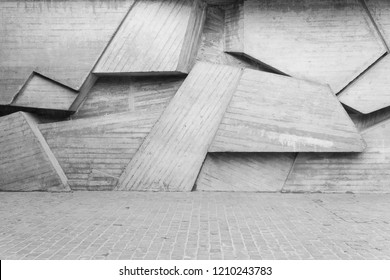 Geometric Concrete Wall Abstract Background