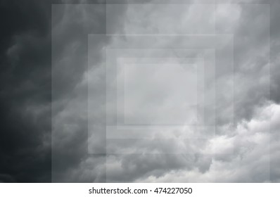 Geometric dark gray dramatic sky with large clouds