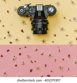 Geometric Flat lay set: vintage camera and flowers on pink and yellow backgrounds. Top view.