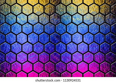 Geometric hexagon abstract pattern composition