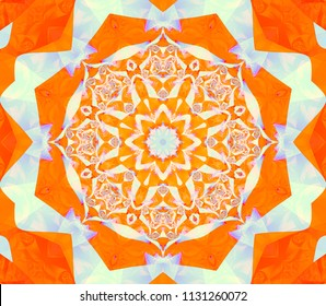Geometric kaleidoscope scarlet seamless pattern. Abstract background. Illustration for design. Bright flower.