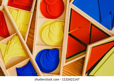 Geometric material in Montessori classroom for the learning of children in mathematics area.