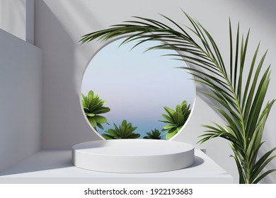 Geometric minimal scene, design for cosmetic or product display podium 3d render. - Shutterstock ID 1922193683