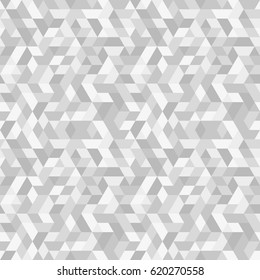 Geometric pattern with dark and light silver triangles. Seamless abstract background