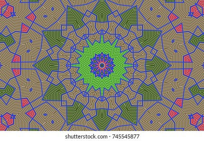 Geometric pattern, executed in a coherent surface. Illustration of a kaleidoscope. Geometric mosaic.