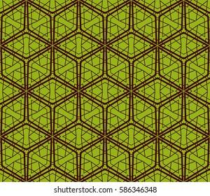 geometric patterns. raster  illustration. texture for interior design, wallpaper, print, fabric, decor. green, dark red color