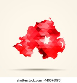 Geometric red map of Northern Ireland flag colors