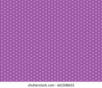 A geometric, repeating pattern of lavender stars, and circles on a purple background.