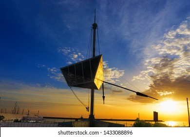 Geometric Sculpture with sunrise in the Palermo port in Sicily, Italy