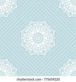 Geometric seamless pattern in floral lace style. Ethnic ornament.  illustration. For modern interior design, fashion textile print, wallpaper, decor panel