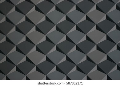 Geometric seamless pattern of gray tones . Abstract pattern 3 D cube illusion - squares. Seamless medium gray isometric cubes levels puzzle illusion pattern