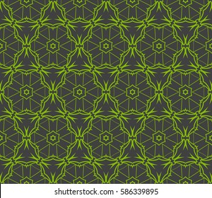 Geometric seamless pattern. Modern floral ornament. raster  illustration. For the interior design, wallpaper, decoration print, fill pages