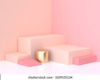 geometric shape pink cream scene minimal 3d rendering