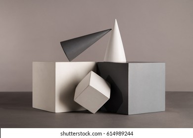 Geometric shapes. Cylinder, cube, cone, prism