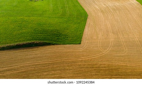 geometric shapes made by cultivated fields, in aerial view