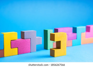 Geometric shapes on a blue background, close-up.