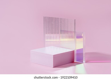 Geometric shapes podium for product display. Monochrome platform  with gloss acrylic sheets on pink background. Stylish background for presentation. Minimal style.