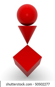 geometric solid red in balance