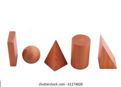 geometric solids isolated on white, studio shot