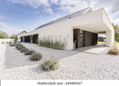 Geometric style villa with decorative white gravel and small plants