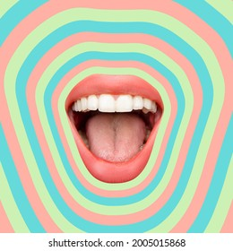 Geometric waves. Contemporary art collage, modern design. Summer time mood. Composition with female opened mouth isolated over bright absract background. Party, vacation, resort, fun mood.