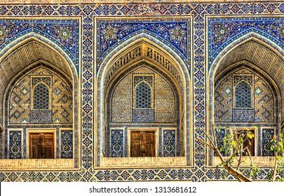 Geometrical architecture and mosaic art in the Samarkand, Uzbekistan