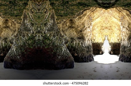 geometrical composition grotto on the beach, Caves at low tide, quartz caves, artistic representation, O Vicedo, Lugo, Galicia, Spain,