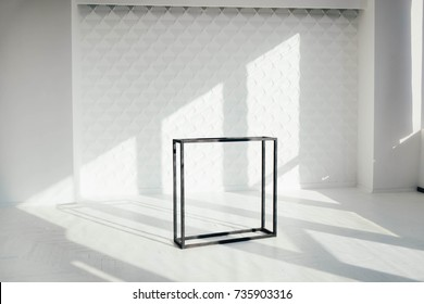 geometrical cube on white 3d walls studio interior