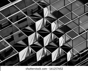 Geometry in architecture in black and white, detail