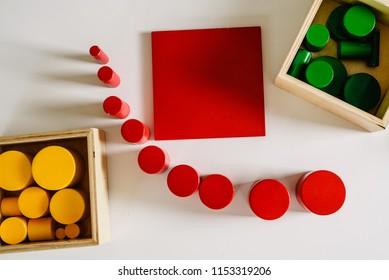 Geometry and mathematics materials in a Montessori classroom