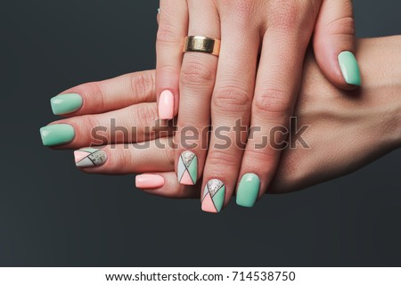 Geometry Nail Art Design Pink Green Stock Photo Edit Now 714538750