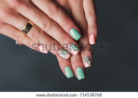 Geometry Nail Art Design Pink Green Stock Photo Edit Now 714538768
