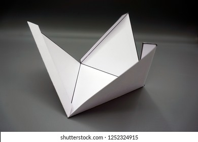 Geometry net of rectangular pyramid. 2-dimensional shape that can be folded to form a 3-dimensional shape or a solid. Unfolded three Dimensional Figures. Isolated.
